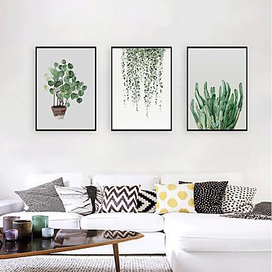 hesapli Çerçeveli Resimler-Çerçeveli Sanat Baskısı Çerçeve Seti - Natürmort Çiçek / Botanik Polisitren Çizim Duvar Sanatı