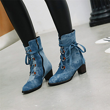 povoljno Ženske čizme-Žene Čizme Kockasta potpetica Okrugli Toe Traper Čizme gležnjače / do gležnja slatko Zima Dark Blue / Crvena / Svjetloplav