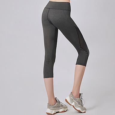 Kadın's Yoga Pantolonları Altın Spor Dalları Tek Renk 3/4 Tayt Koşma Fitness Spor Salonu Egzersizi Aktif Giyim Hafif Nem Emici Hızlı Kuruma Direnç Taytı Yüksek Elastikiyet Dar