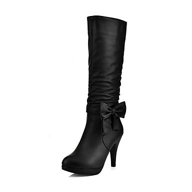 voordelige Dameslaarzen-Dames Laarzen Kegelhak Ronde Teen PU Kuitlaarzen Zoet Herfst winter Zwart / Blauw / Roze