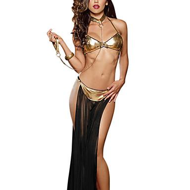 Kadın's Tutuklu Yetişkin Seksi Üniformalar Cosplay Kostümleri Maskeli Balo Etek Yaka Sütyen / Tül