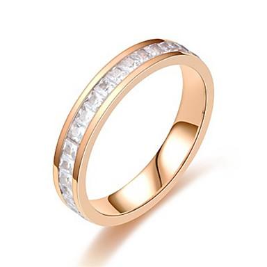 billige Motering-Dame Band Ring / Ring / Tail Ring 1pc Sølv / Rose Gull Rustfritt Stål / Titanium Stål Sirkelformet Grunnleggende / Mote Gave / Daglig Kostyme smykker