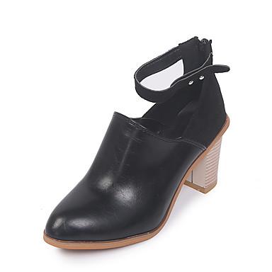 voordelige Dameslaarzen-Dames Laarzen Blokhak Ronde Teen PU Korte laarsjes / Enkellaarsjes Informeel / Brits Zomer / Herfst Zwart