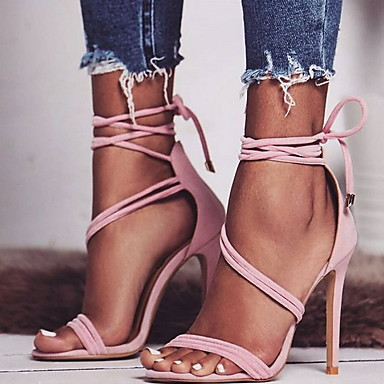 cheap Women's Shoes-Women's Sandals Stiletto Heel Round Toe Buckle Suede Spring &  Fall / Summer Black / Beige / Pink