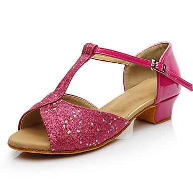 baratos Shall We® Sapatos de Dança-Mulheres Sintéticos Sapatos de Dança Latina Salto Salto Grosso Personalizável Preto / Fúcsia / Prateado
