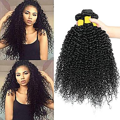 baratos Extensões de Cabelo Natural-3 pacotes Cabelo Brasileiro Kinky Curly Cabelo Virgem 100% Remy Hair Weave Bundles Peça para Cabeça Cabelo Humano Ondulado Extensor 8-28 inch Côr Natural Tramas de cabelo humano Recém nascido