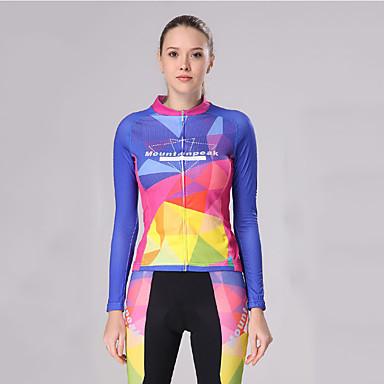 Mountainpeak Kadın's Uzun Kollu Bisiklet Taytı Siyah / Mavi Bisiklet Giysi Takımları Nefes Alabilir Hızlı Kuruma Kış Spor Dalları Polyester Splandeks Solid Dağ Bisikletçiliği Yol Bisikletçiliği Giyim