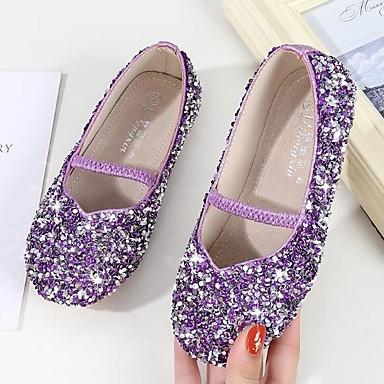 hesapli Kız Çocuk Ayakkabıları-Genç Kız Sentetikler Düz Ayakkabılar Küçük Çocuklar (4-7ys) / Büyük Çocuklar (7 yaş +) Çiçekçi Kız Ayakkabıları Payet Mor / Mavi / Pembe Bahar / Sonbahar
