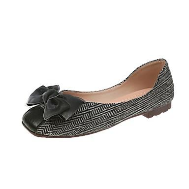 Kadın's Mokasen & Bağcıksız Ayakkabılar Blok Topuk Yuvarlak Uçlu PU Yaz Siyah / Kahve