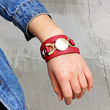 billige Motearmbånd-Dame Sjal Armbånd Lang Lykkelig Mote PU Armbånd Smykker Rød Til Daglig