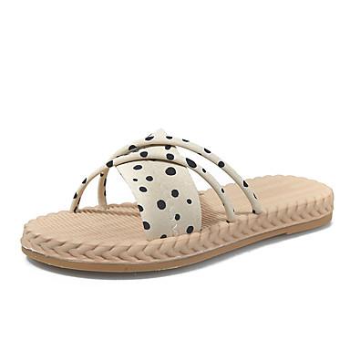 voordelige Damespantoffels & slippers-Dames Slippers & Flip-Flops Platte hak PU Informeel Zomer Zwart / Beige