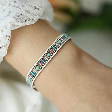 billige Motearmbånd-Dame Håndlaget Link Armbånd Flettet Lykkelig Asiatisk Bohemsk Akryl Armbånd Smykker Blå Til Gave Daglig