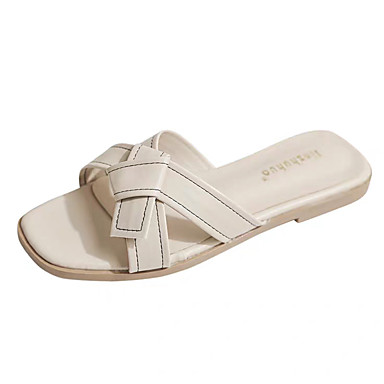 voordelige Damespantoffels & slippers-Dames Slippers & Flip-Flops Platte hak PU Lente / Zomer Zwart / Amandel
