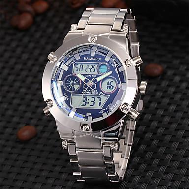 お買い得  軍用腕時計-ASJ 男性用 リストウォッチ 日本産 ステンレス シルバー 30 m 耐水 アラーム カレンダー アナログ/デジタル ぜいたく - ホワイト ブラック ブルー 2年 電池寿命 / クロノグラフ付き / LCD / 2タイムゾーン / Maxell SR626SW + SEIKO CR2025