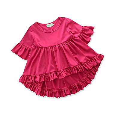 baratos Blusas para Meninas-Bébé Para Meninas Casual Diário Para Noite Sólido Pregueado Fashion Delgado Manga Curta Padrão Algodão Camiseta Vermelho / Fofo