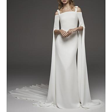Trompette / Sirène Epaules Dénudées Traîne Brosse Satin Robes de mariée sur mesure avec par LAN TING Express