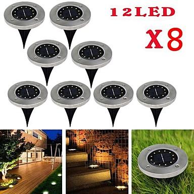 billige Utendørsbelysning-brelong 12leds solar underground light utendørs vanntett plen lys 8 stk