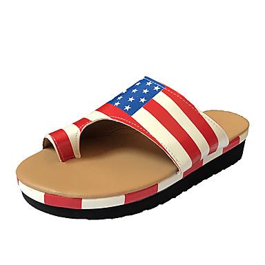 voordelige Damespantoffels & slippers-Dames Slippers & Flip-Flops Lage hak Ronde Teen PU Brits Wandelen Herfst / Lente zomer Geel / Perzik / Roze / leuze