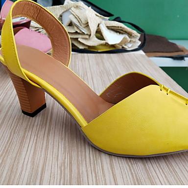Kadın's Sandaletler Kalın Topuk Burnu Açık PU Yaz Sarı / Kırmzı / Kahverengi