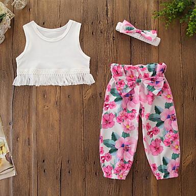 levne Sady oblečení-Děti Toddler Dívčí Aktivní Základní Květinový Třásně Tisk Bez rukávů Krátké Bavlna Spandex Sady oblečení Bílá