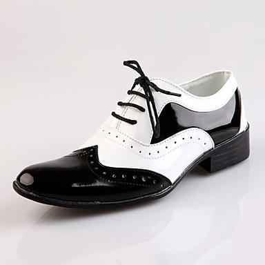 baratos Super Ofertas-Homens Sapatos de vestir Cetim / Couro Sintético Primavera Verão Formais Oxfords Aumento de altura Branco / Preto / Casamento