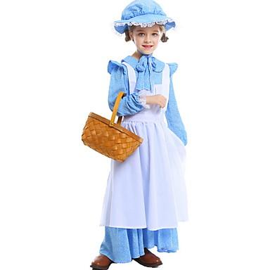 Sömürge Kızı Kostüm Çocuklar Genç Kız Tarihi Cadılar Bayramı Performans Kostümler Genç Kız Çocuk Dans Kıyafetleri Dantelalar Dantel Elbiseler