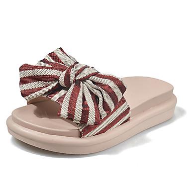 voordelige Damespantoffels & slippers-Dames Slippers & Flip-Flops Platte hak Open teen PU Informeel Zomer Zwart / Rood