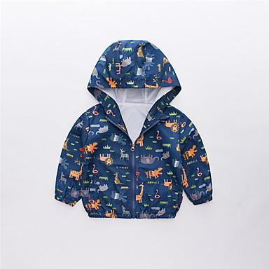 baratos Jaquetas & Casacos para Meninos-Infantil Para Meninos Básico Moda de Rua Estampado Estampa Colorida Estampado Padrão Casaco Trench Azul Real