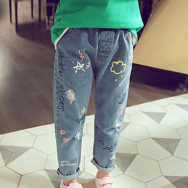 baratos Jeans para Meninas-Infantil Para Meninas Básico Sólido Jeans Azul