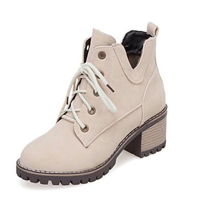 voordelige Dameslaarzen-Dames Laarzen Blok hiel Ronde Teen PU Korte laarsjes / Enkellaarsjes Herfst winter Zwart / Beige / Geel