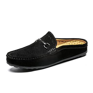 Homens Sapatos Confortáveis Couro Ecológico Verão Casual Tamancos e Mules Não escorregar Preto / Marron / Cinzento
