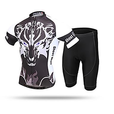 XINTOWN Erkek Kısa Kollu Şortlu Bisiklet Forması Siyah / Beyaz Hayvan Bisiklet Nefes Alabilir Spor Dalları Hayvan Dağ Bisikletçiliği Yol Bisikletçiliği Giyim / Streç