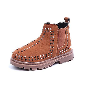povoljno Cipele za djevojčice-Dječaci / Djevojčice Brušena koža Čizme Mala djeca (4-7s) / Velika djeca (7 godina +) Modne čizme Zakovica / Patent-zatvarač Crn / Braon Jesen / Zima / Čizme gležnjače / do gležnja / Zabava i večer