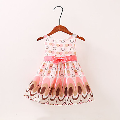povoljno Haljinice za bebe-Dijete Djevojčice Osnovni Cvjetni print Mašna Bez rukávů Iznad koljena Haljina Blushing Pink