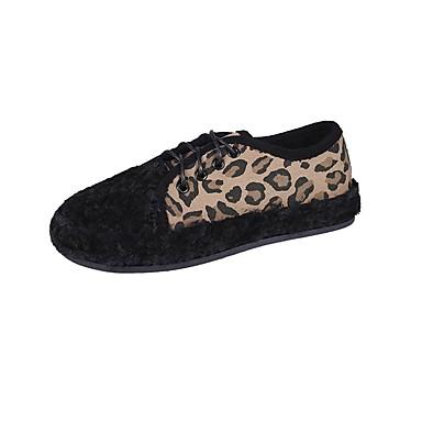 Kadın's Mokasen & Bağcıksız Ayakkabılar Düz Taban PU Kış Leopar / Haki