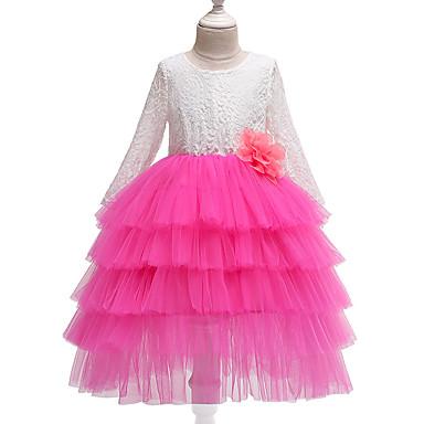 preiswerte Kleider für Mädchen-Kinder Mädchen Süß nette Art Patchwork Spitze Mehrlagig Langarm Midi Acryl Polyester Kleid Rote