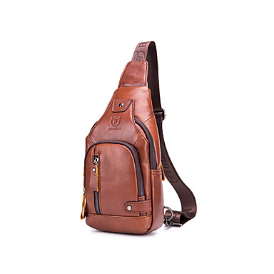 cheap Men's Bags-Men's Zipper Cowhide Sling Shoulder Bag Solid Color Red Brown / Fall & Winter