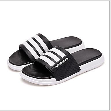 voordelige Damespantoffels & slippers-Unisex Slippers & Flip-Flops Platte hak Ronde Teen PVC Lente & Herfst Wit / Zwart / Groen / Gestreept