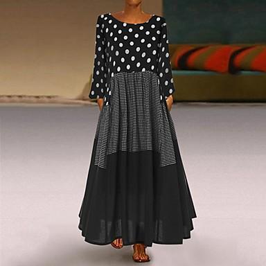 povoljno Novo u ponudi-Žene Starinski Swing kroj Haljina - Kolaž, Na točkice Maxi / Veći konfekcijski brojevi / Širok kroj
