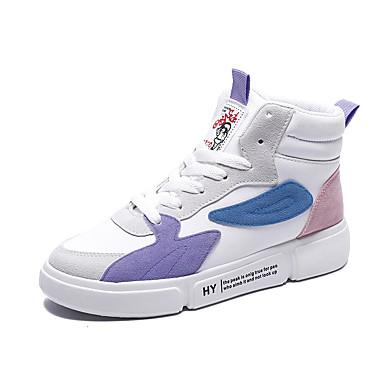 Kadın's Spor Ayakkabısı Düz Taban Yuvarlak Uçlu Patentli Deri Günlük / Tatlı Sonbahar Kış Siyah / Beyaz