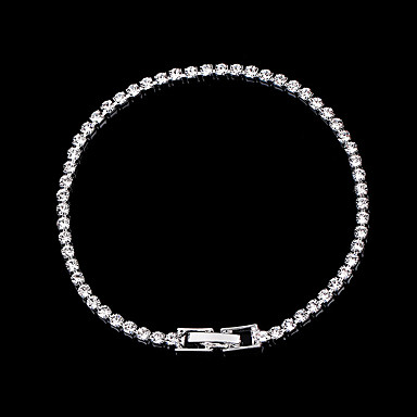 abordables Bracelet-Bracelets Tennis Rivière de Diamants Bracelet Femme Classique Imitation Diamant Princesse simple Luxe Classique Mode Elégant Bracelet Bijoux Argent pour Mariage Soirée Fiançailles Cadeau Quotidien