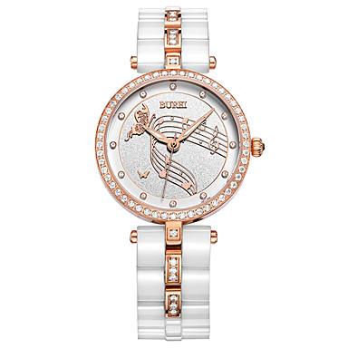 baratos Relógios Homem-Mulheres Relógio Elegante Quartzo Cerâmica 30 m Luminoso Relógio Casual Analógico Luxo Elegante - Branco Um ano Ciclo de Vida da Bateria
