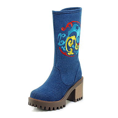 voordelige Dameslaarzen-Dames Laarzen Blokhak Ronde Teen Denim Kuitlaarzen Klassiek / minimalisme Winter Zwart / Donkerblauw / Lichtblauw