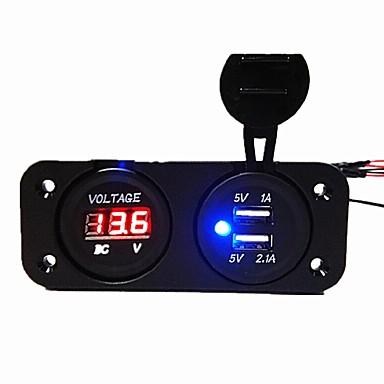 voordelige Automatisch Electronica-dc12v 3.1a autolader tweegatspaneel met dubbele usb-poorten spanningsmeter stroomadapters vrachtwagen auto motorfiets stopcontact