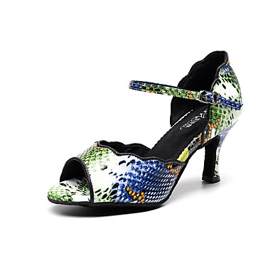 baratos Shall We® Sapatos de Dança-Mulheres Sapatos de Dança Crocodilo Sapatos de Dança Latina Presilha Salto Salto Carretel Personalizável Verde Tropa / Vermelho Escuro / Cinza Escuro / Espetáculo / Ensaio / Prática