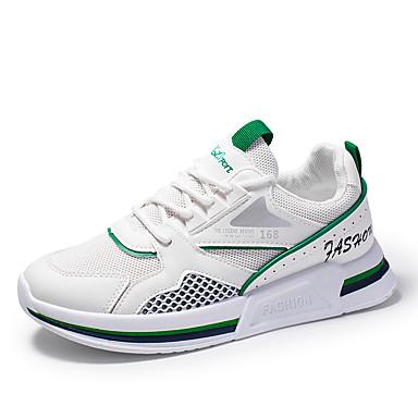 Erkek Ayakkabı PU İlkbahar yaz İngiliz / Çıtı Pıtı Atletik Ayakkabılar Günlük / Dış mekan için Beyaz ve Yeşil / Beyaz / Bej