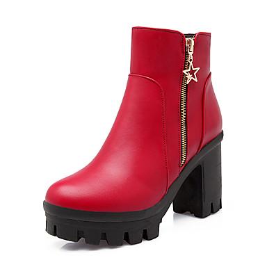 Kadın's Çizmeler Kalın Topuk Yuvarlak Uçlu PU Bootiler / Bilek Botları Vintage / İngiliz Sonbahar Kış Siyah / Beyaz / Kırmzı / Parti ve Gece