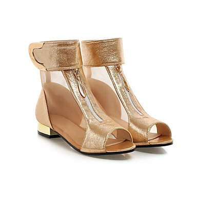 povoljno Ženske čizme-Žene Čizme Ravna potpetica PU Čizme gležnjače / do gležnja Ljeto Zlato / Crn / Pink