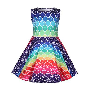 preiswerte Kleider für Mädchen-Kinder Baby Mädchen Aktiv Street Schick Meerjungfrau Einfarbig Regenbogen Ärmellos Übers Knie Kleid Regenbogen