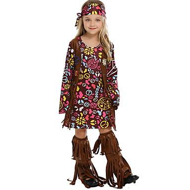 Hippi Kostüm Çocuklar Genç Kız Yenilik Cadılar Bayramı Performans Cosplay Kostümleri Tema Partisi Kostümler Genç Kız Çocuk Dans Kıyafetleri Terylene Elbiseler
